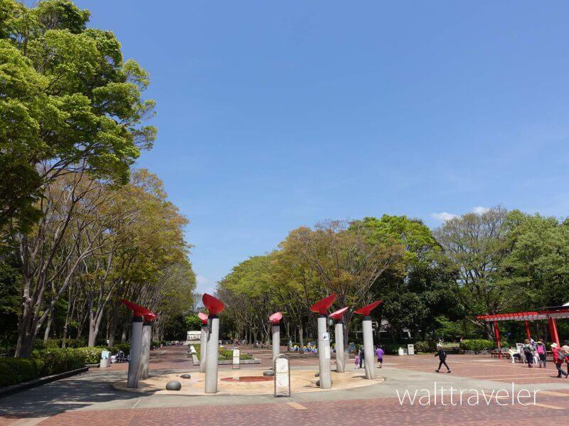 千葉市動物公園 中央広場 噴水