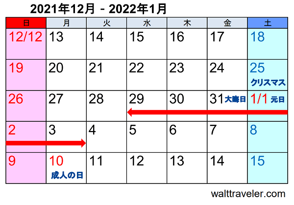 一般的な年末年始休み 正月休み 2021 2022 カレンダー