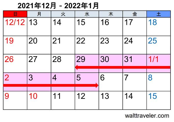 年末年始休み 正月休み 2021 2022 自動車関連企業 カレンダー